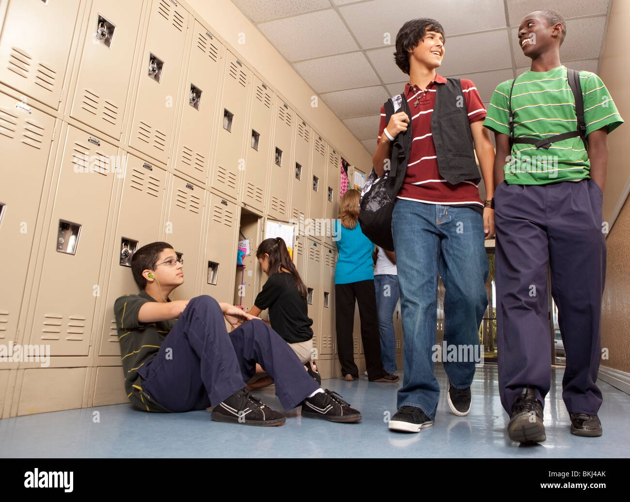 Fort Lauderdale, Florida, United States Of America; Students In The School Hallway Stock Photo