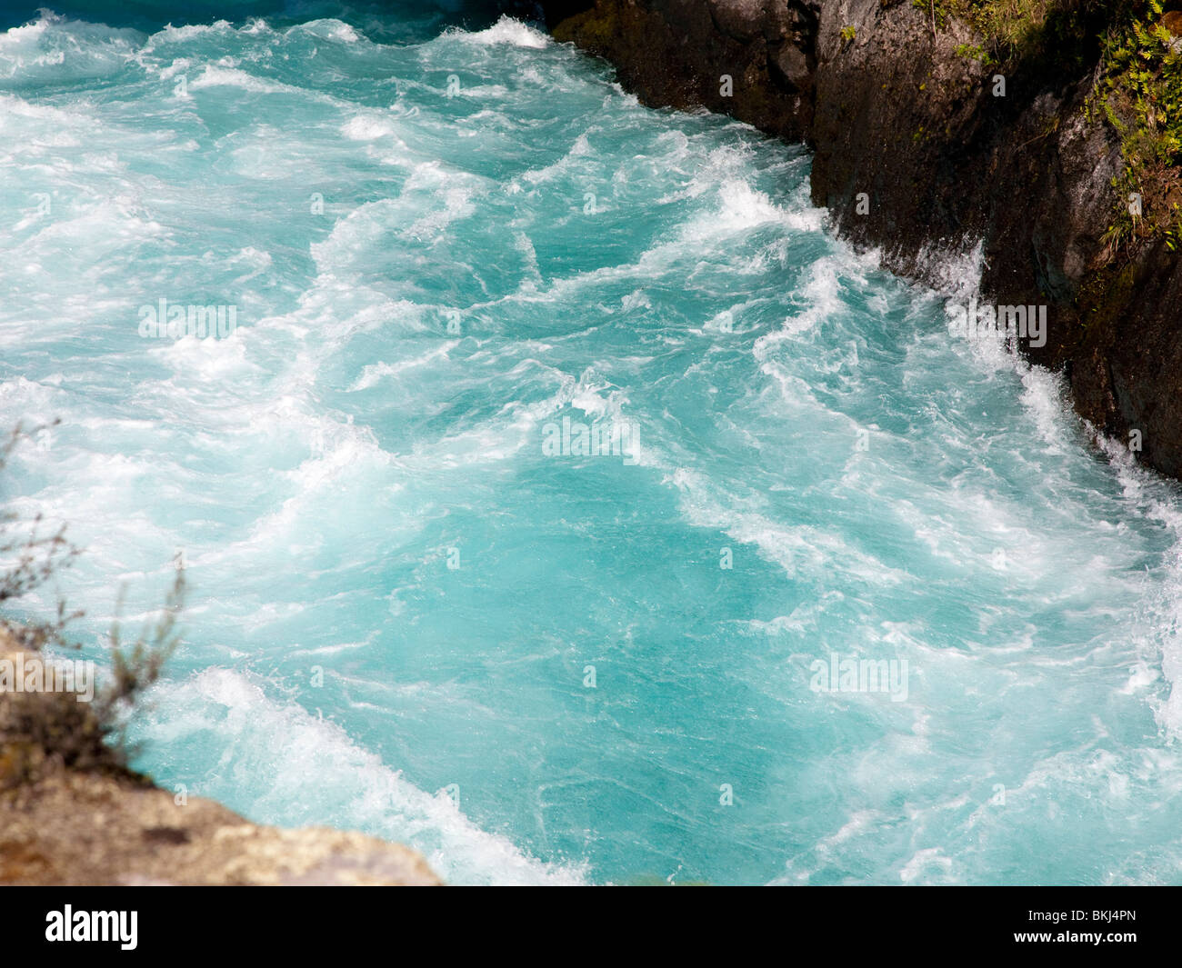 Huka Falls on the Waikato River near Taupo - Stock Image