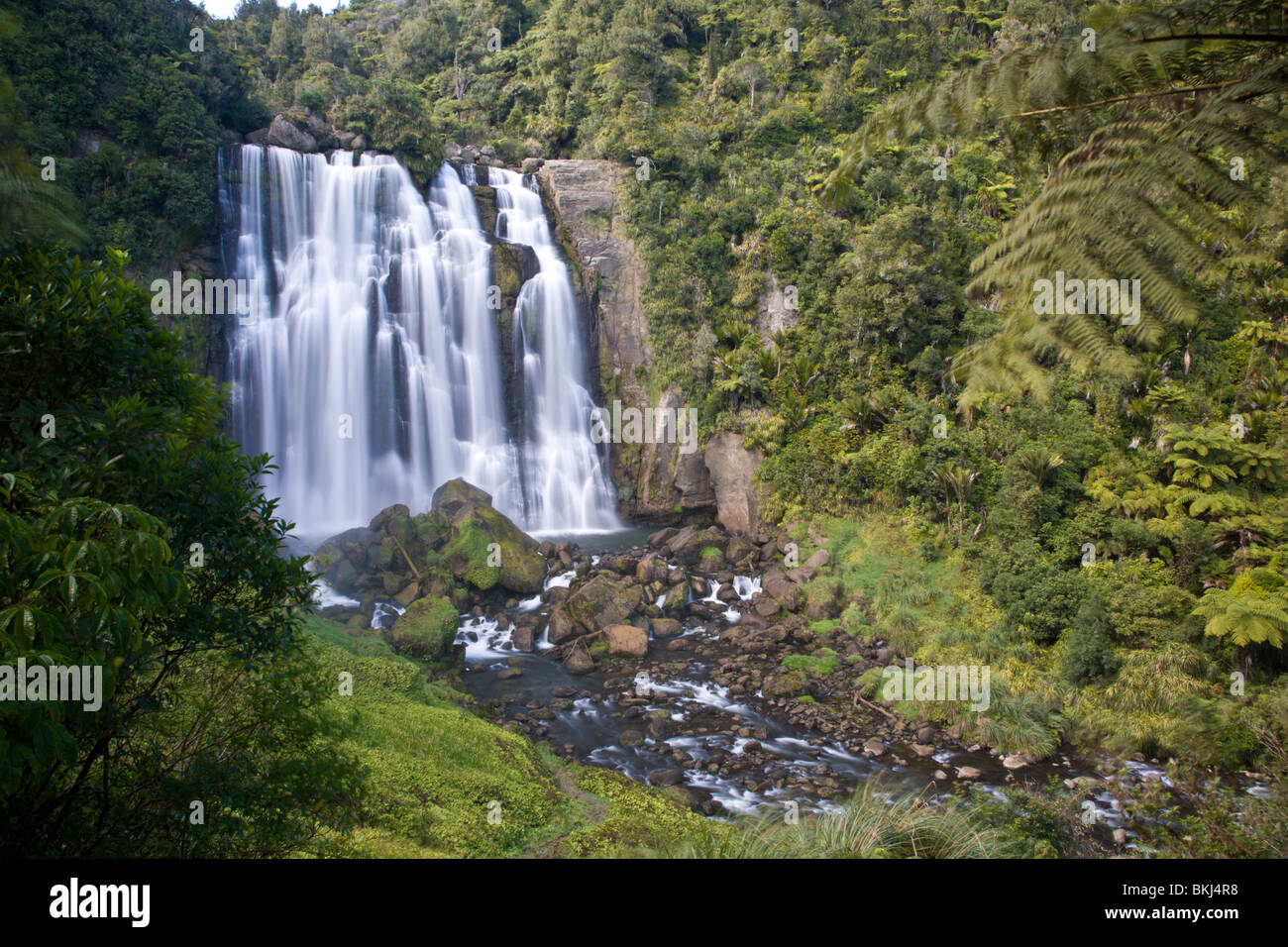 Marakopa Falls North Island New Zealand - Stock Image