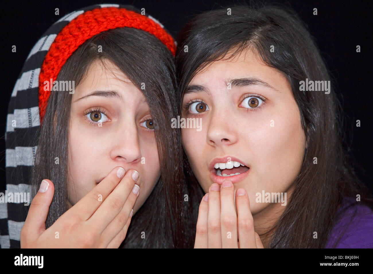 Teenage Girls With A Look Of Surprise - Stock Image