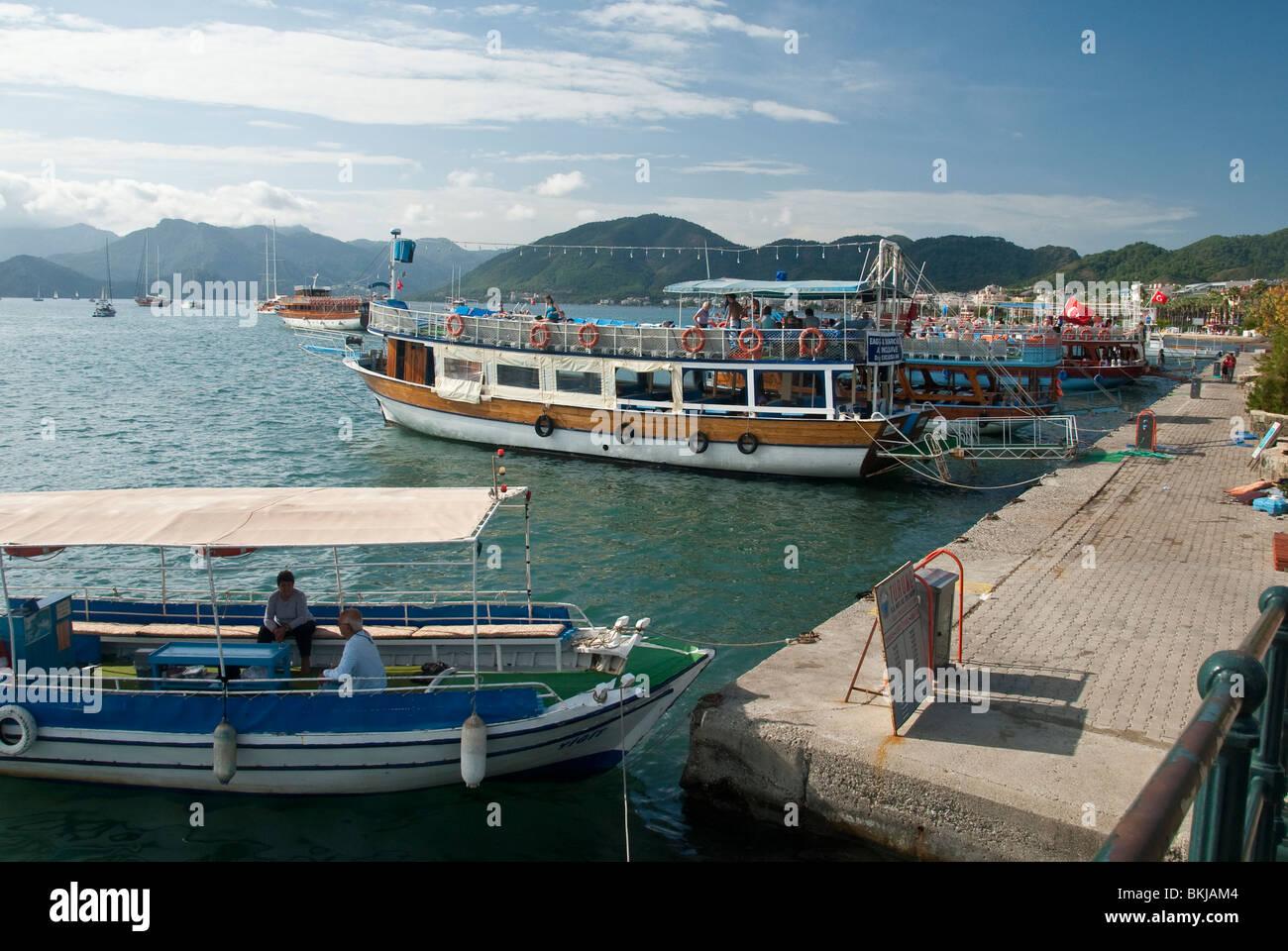 Tourist Boats at Marnaris Stock Photo
