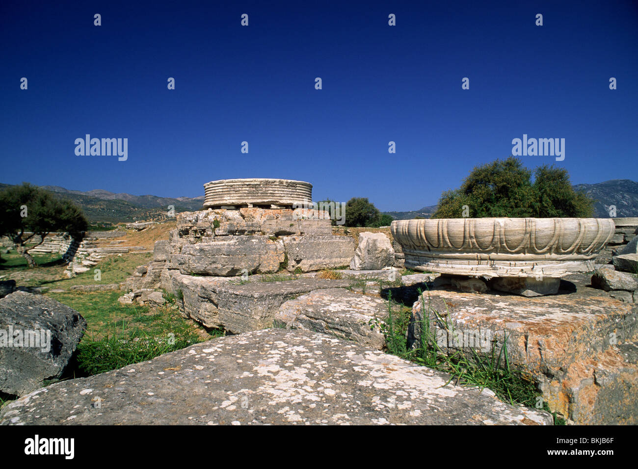 greece, northeastern aegean islands, samos, heraion, hera's temple Stock Photo
