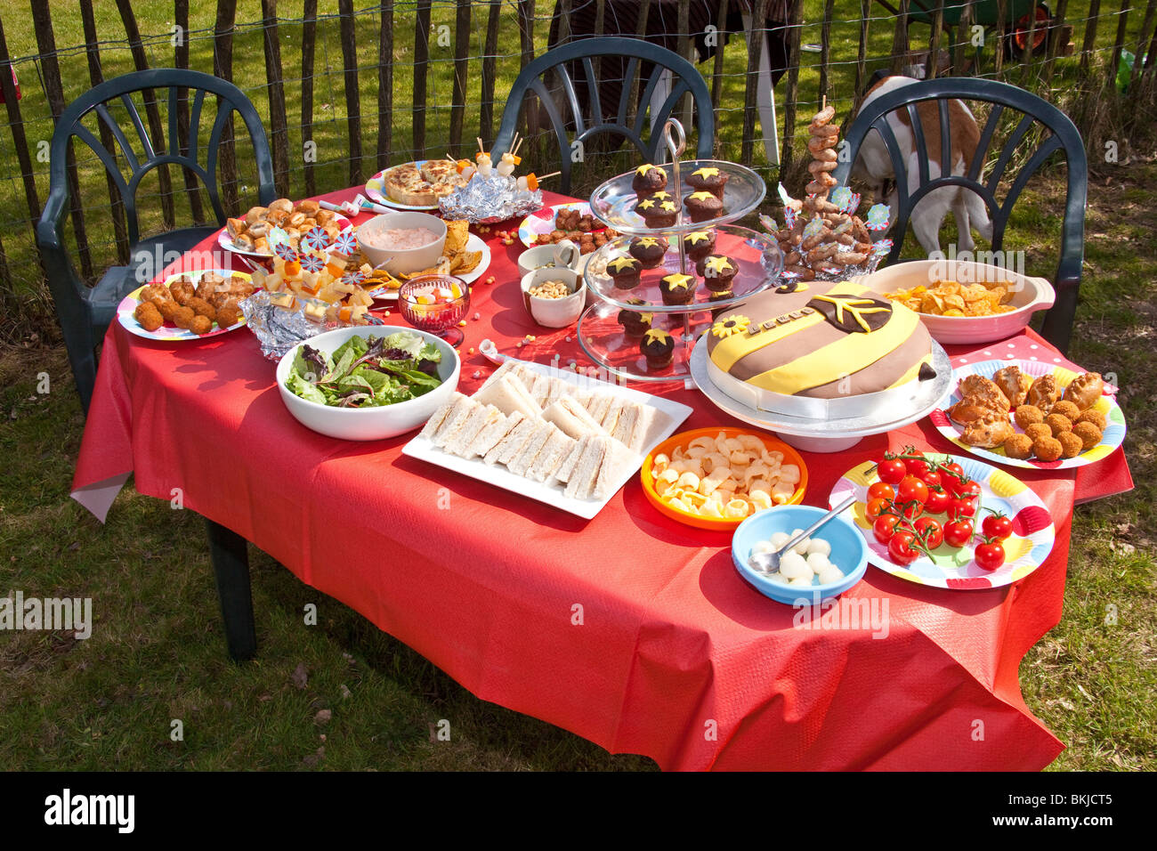 a table filled with kids party food and snacks hampshire england