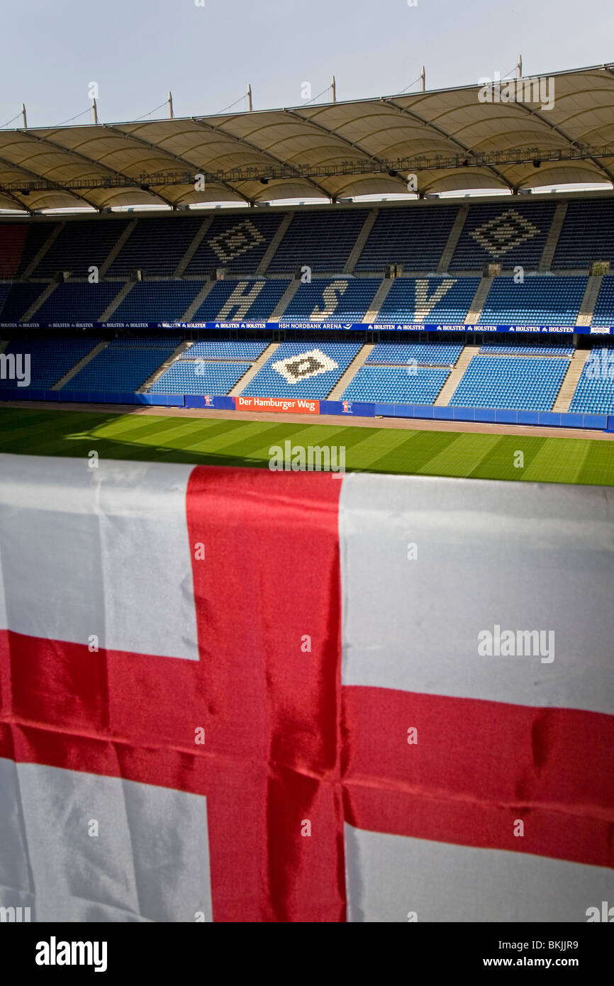 An English flag in Hamburg Arena, home stadium of SV Hamburg and the venue for the 2010 UEFA Europa League Final. - Stock Image