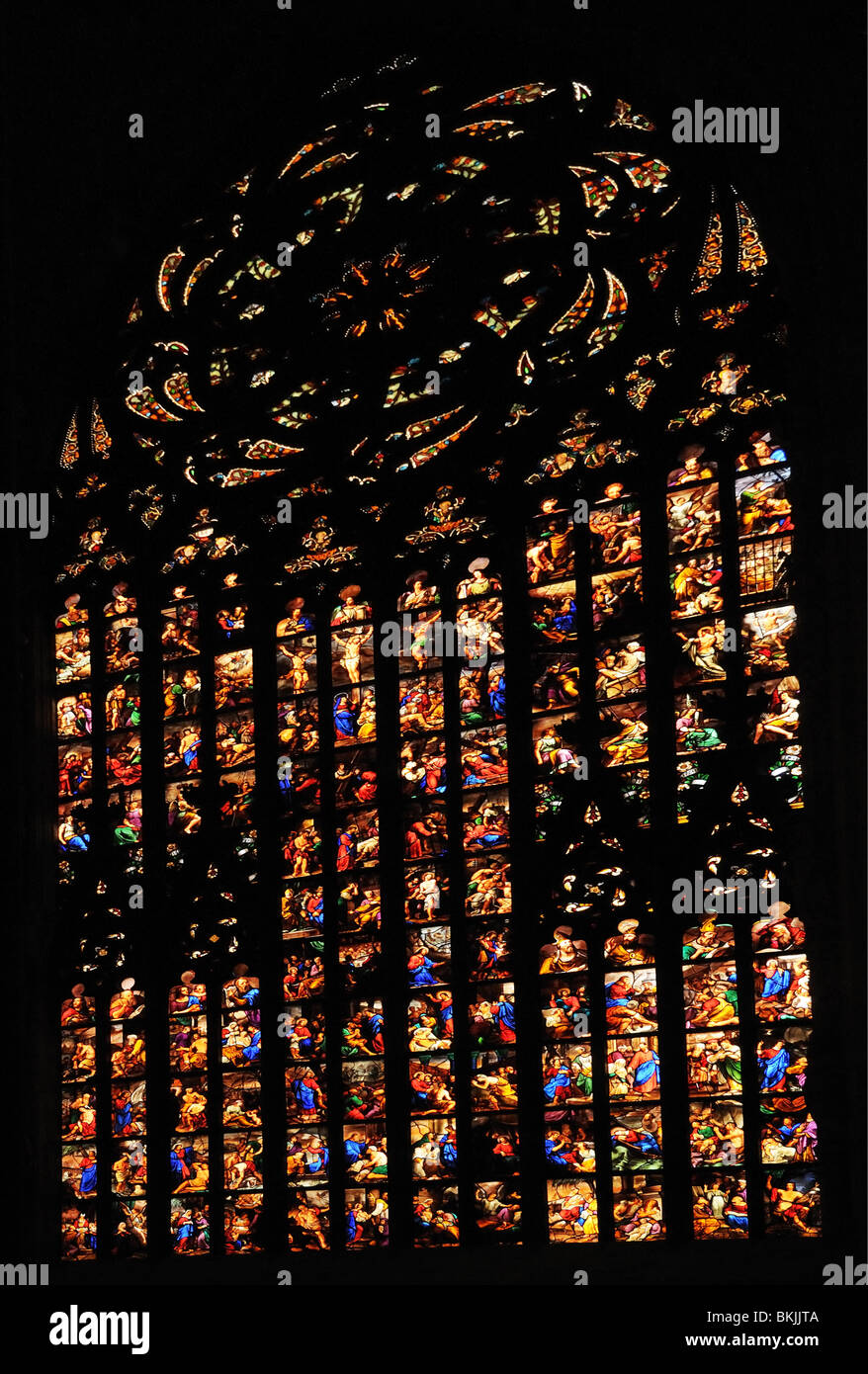 Stained glass window inside Milan Cathedral il Duomo di Milano Italy - Stock Image