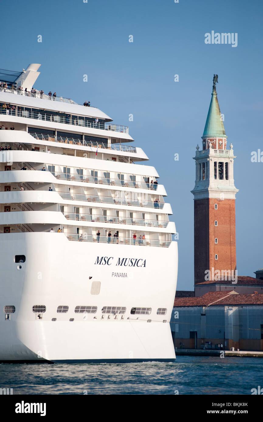 Large modern passenger cruise ship sailing into Venice Italy - Stock Image