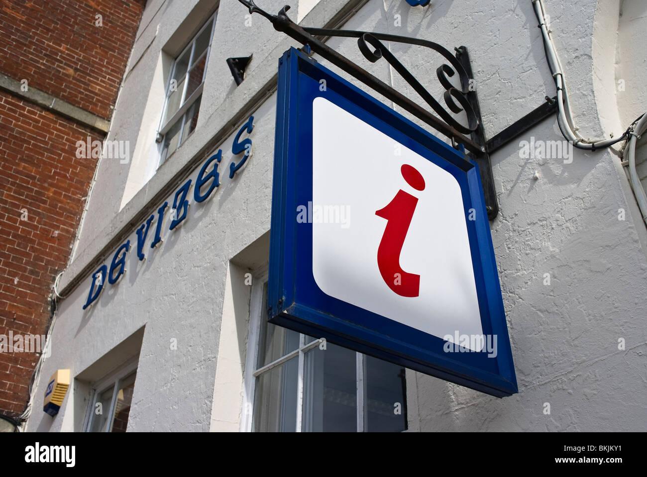 'i' symbol for Information Centre here in Devizes Wiltshire England UK EU - Stock Image