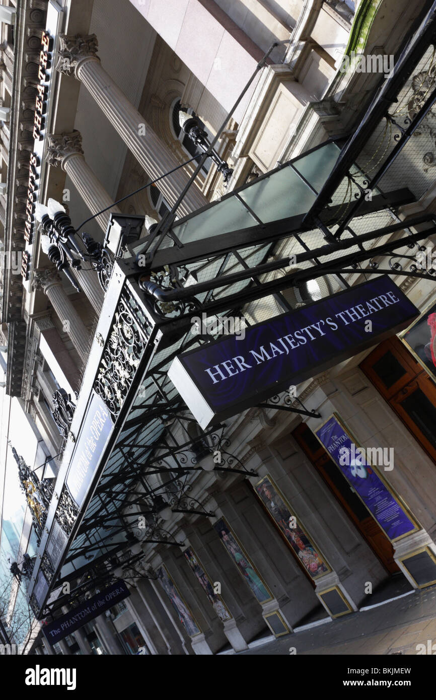 Angled view of the detailed main entrance of the popular London venue Her Majesty `s Theatre in Haymarket,London Stock Photo