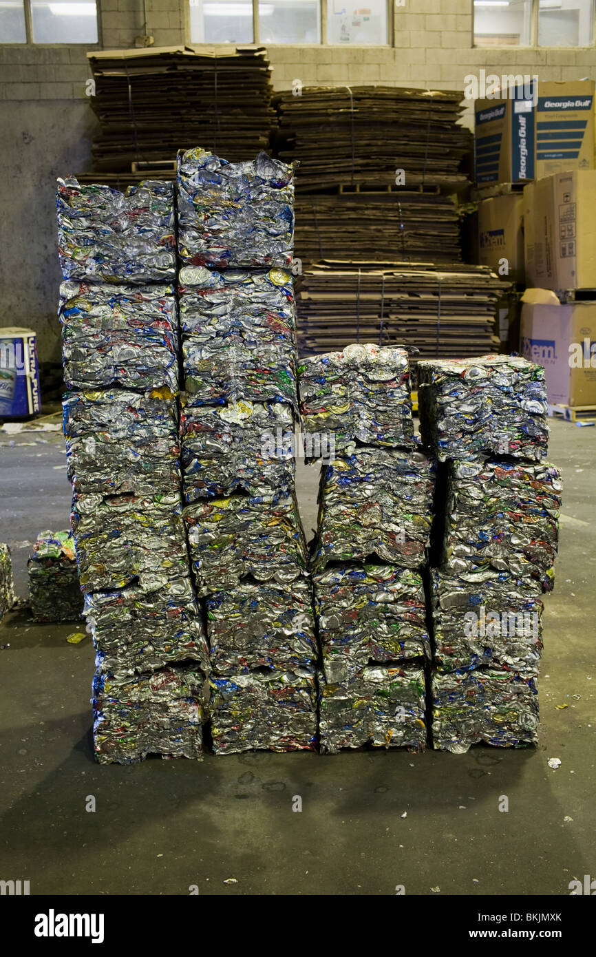Recycled aluminum, pressed into 35 pound biscuits, Charleston, South Carolina - Stock Image