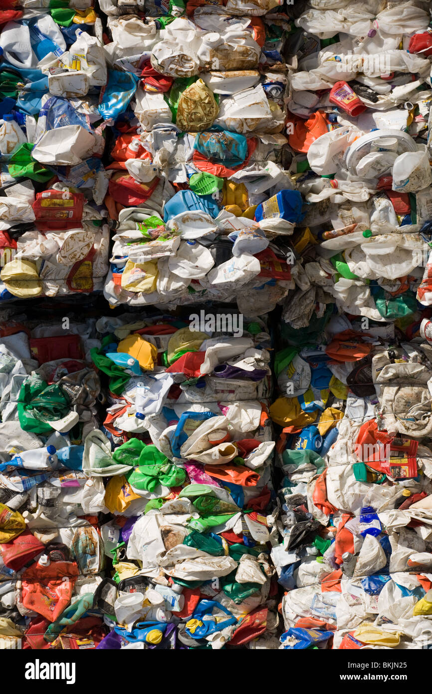 HDPE plastic, crushed and baled for recycling, Charleston, South Carolina - Stock Image