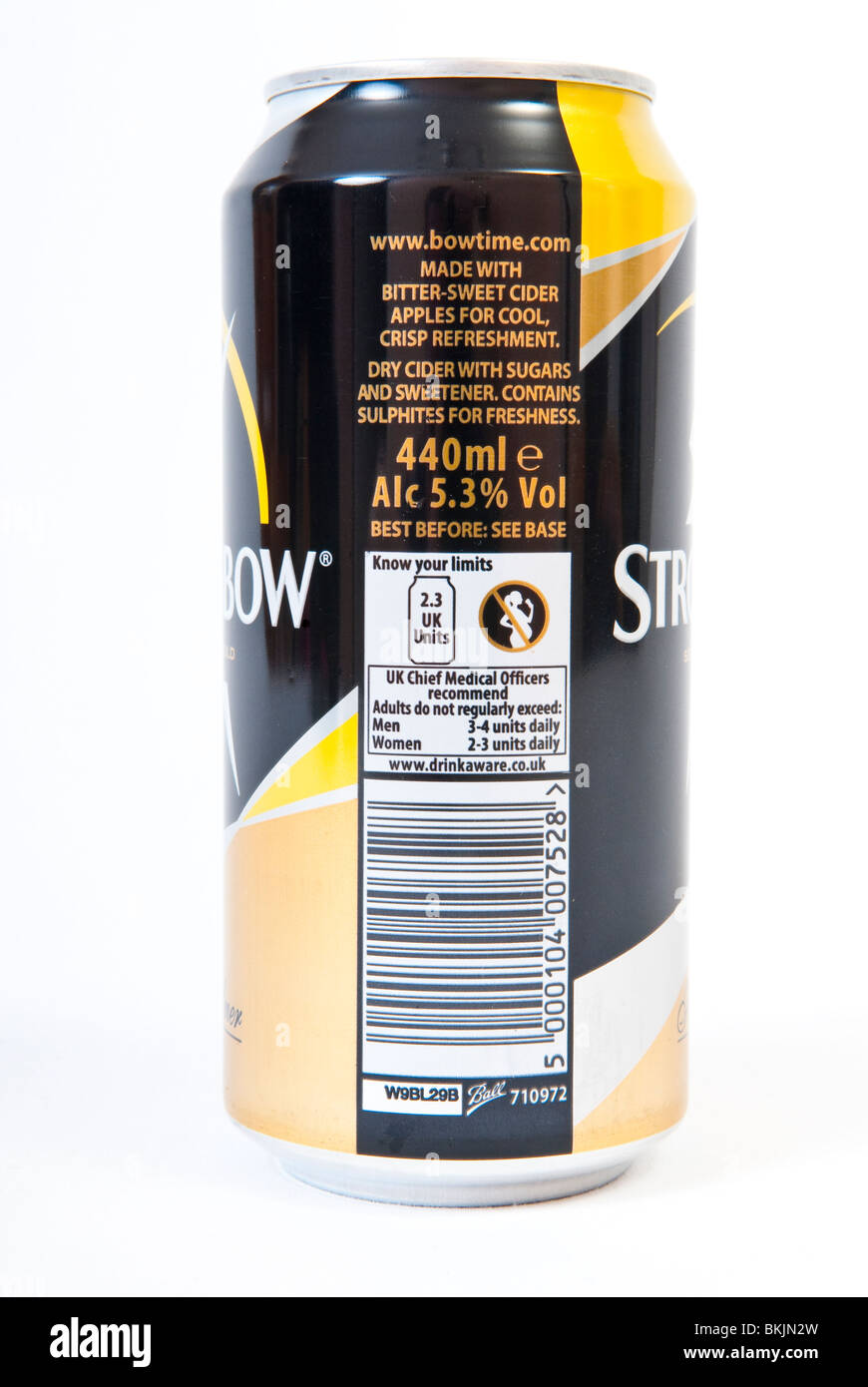 Label on a Can of Strongbow Cider Stock Photo