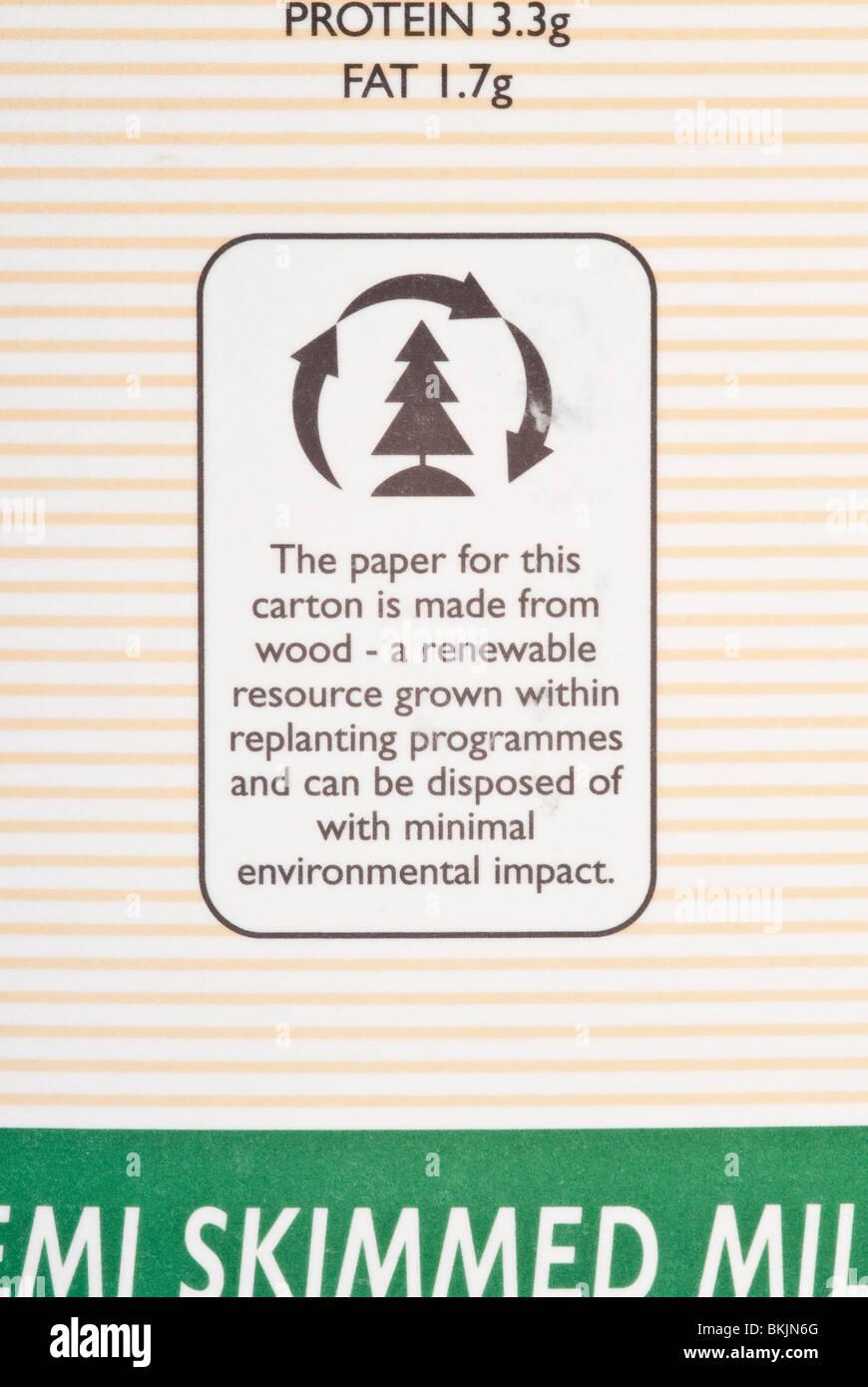 Made From Renewable Recourses Label on Carton of Organic Milk Stock Photo