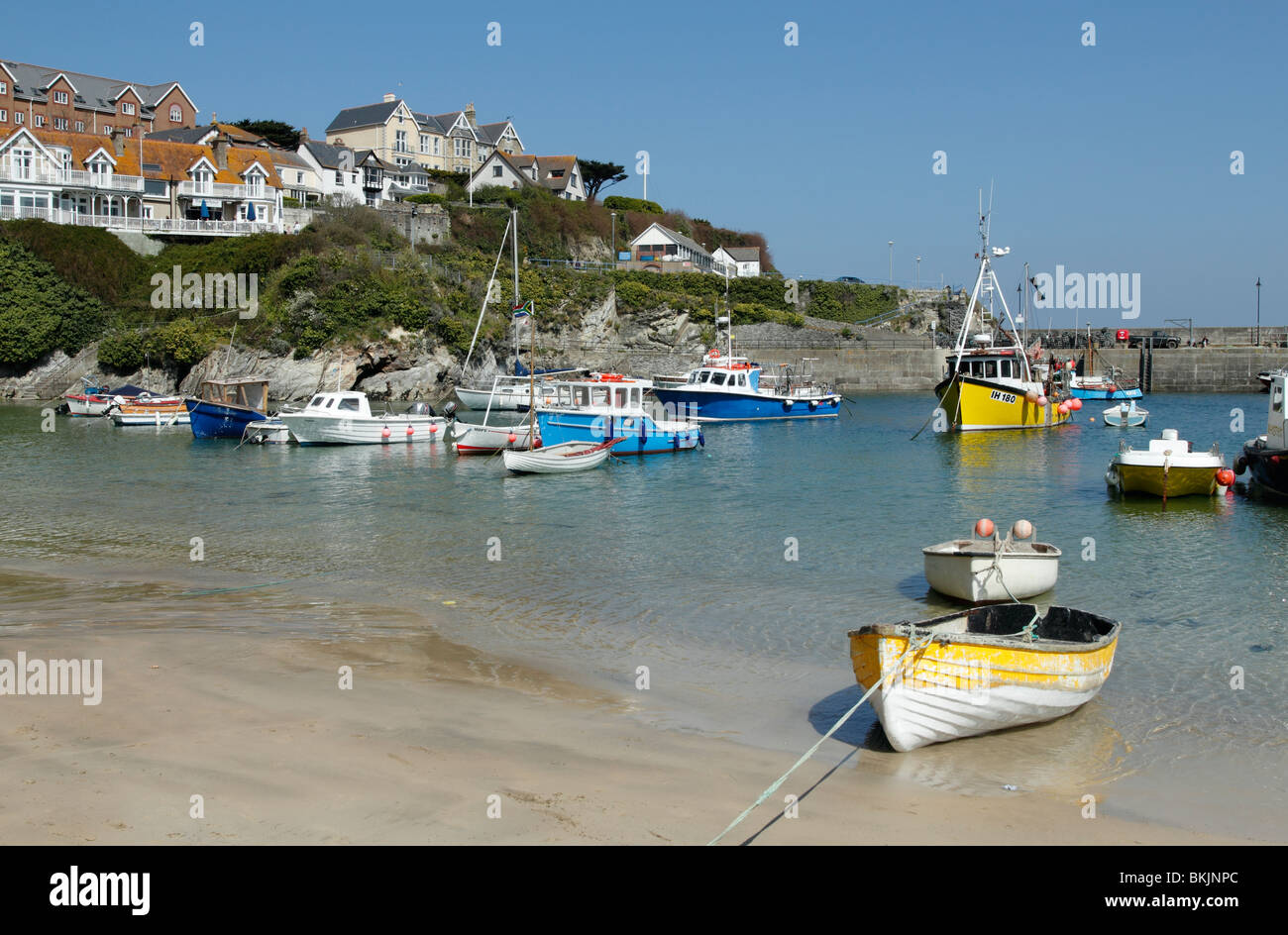 Newquay harbour Fishing boats in Cornwall UK. - Stock Image