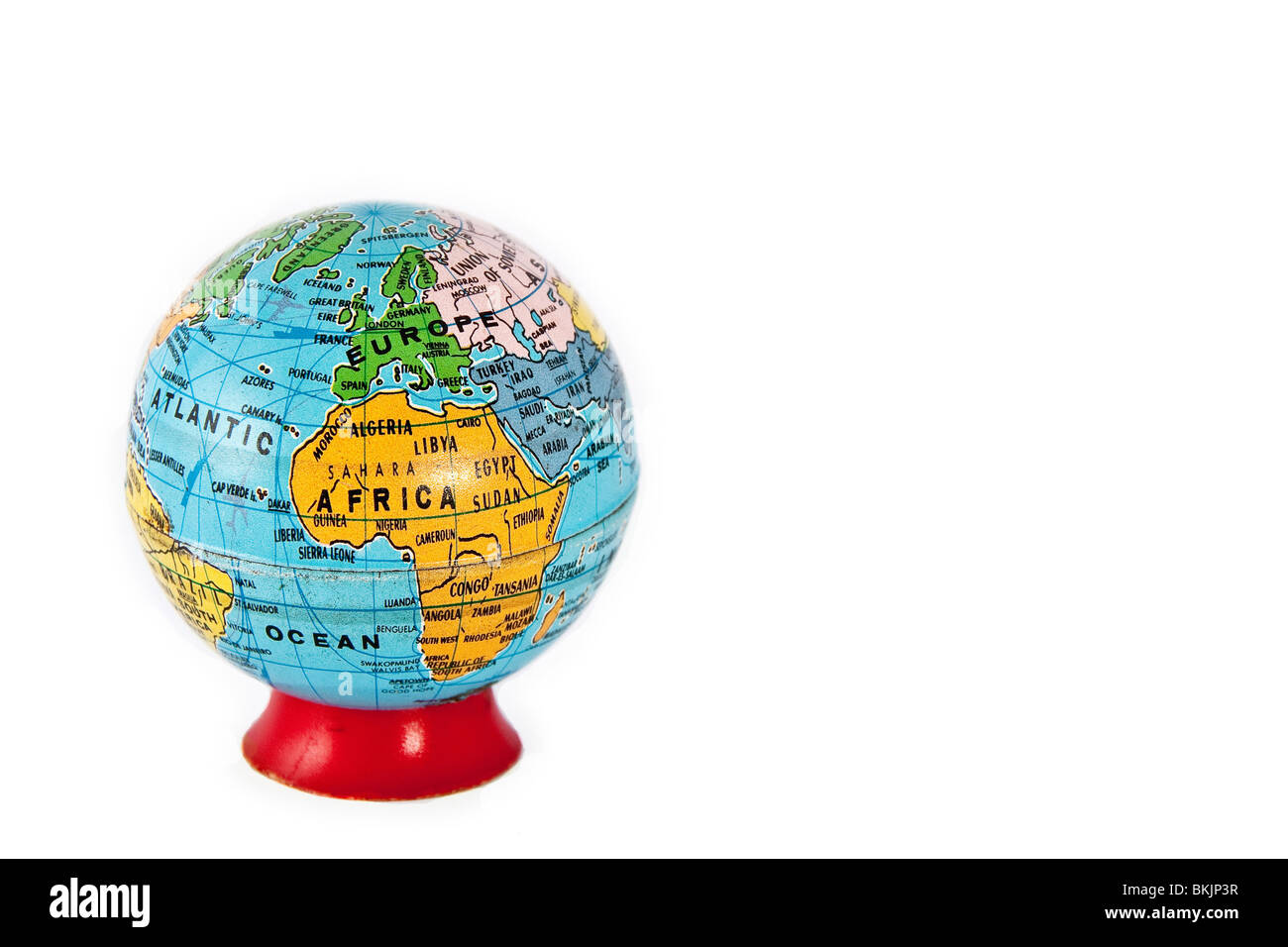 A model terrain globe. Europe and Africa are shown - Stock Image