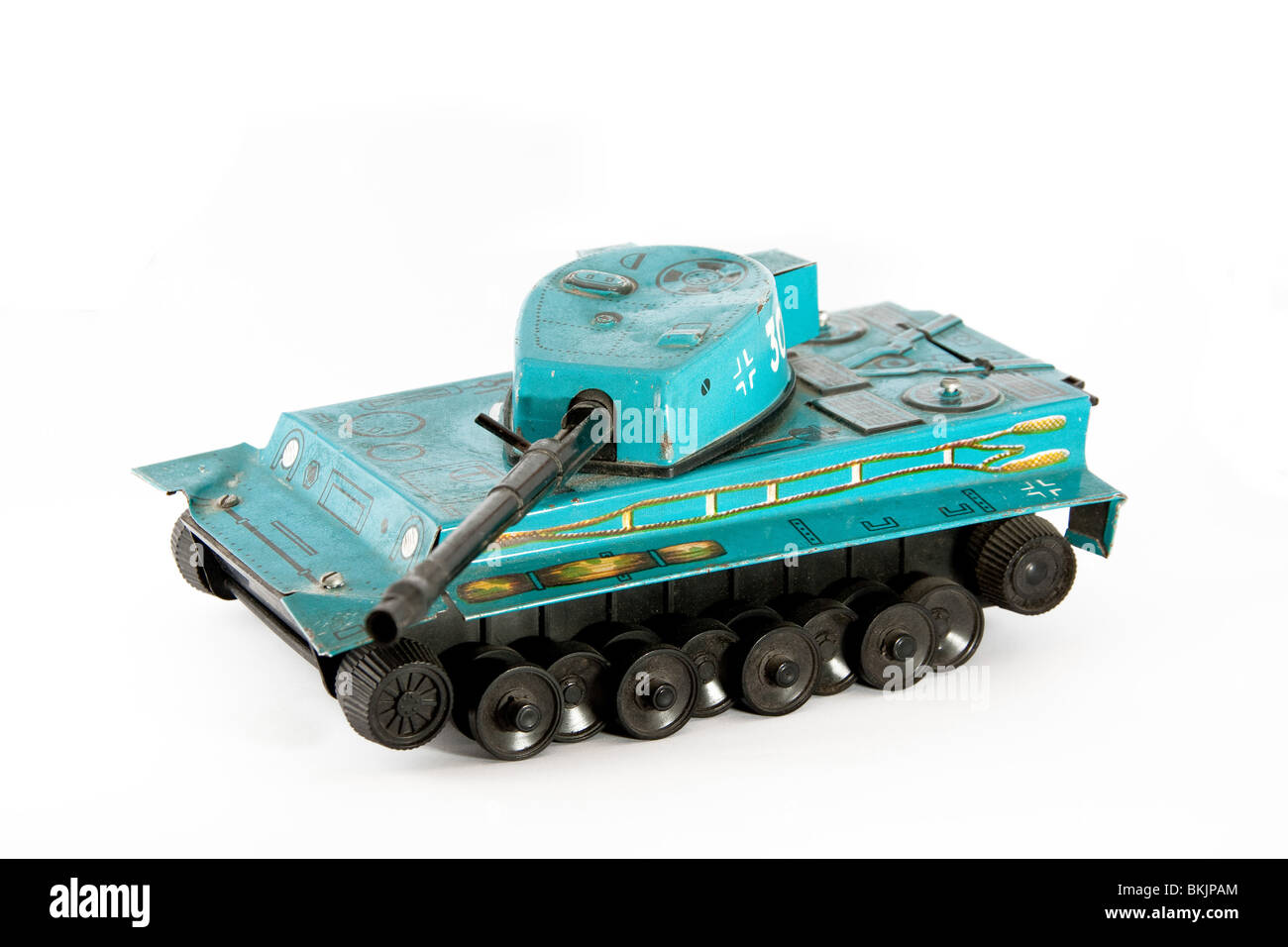 A green old tank toy Stock Photo