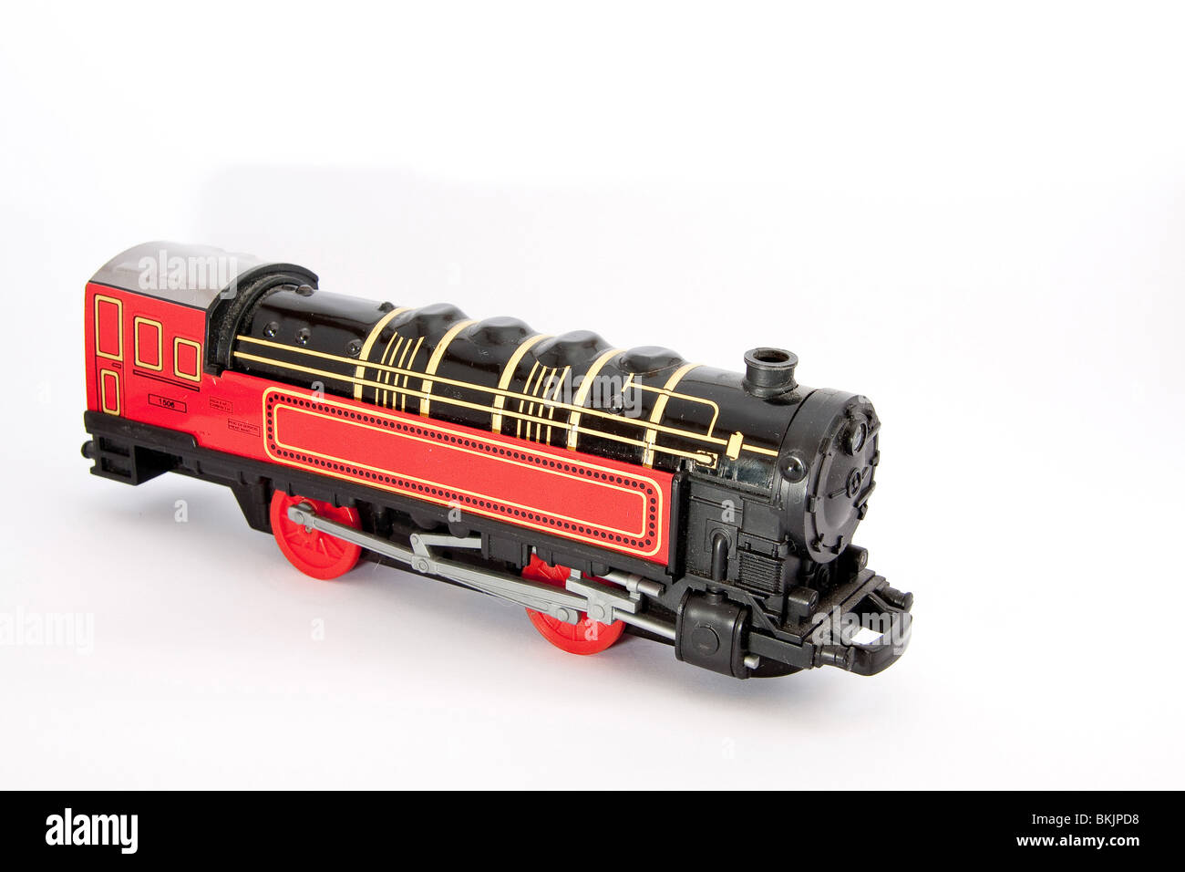 A black and red steam locomotive model - Stock Image
