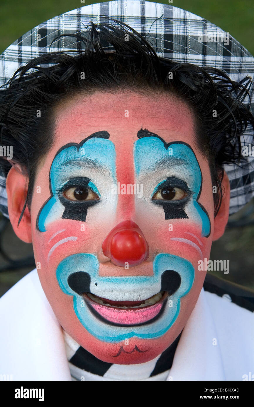 A male clown performer in the city of Puebla, Puebla, Mexico. - Stock Image