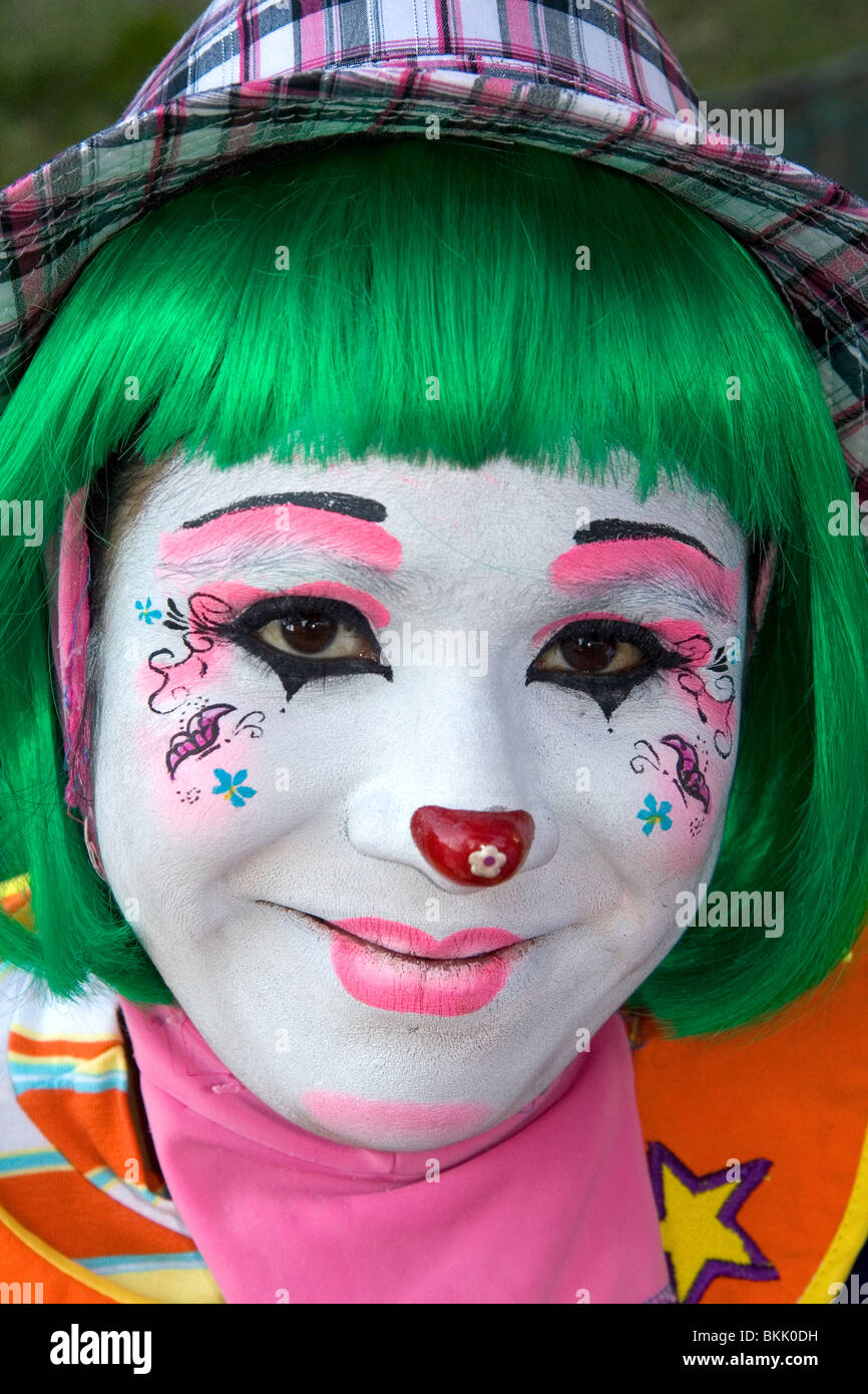 A female clown performer in the city of Puebla, Puebla, Mexico. - Stock Image