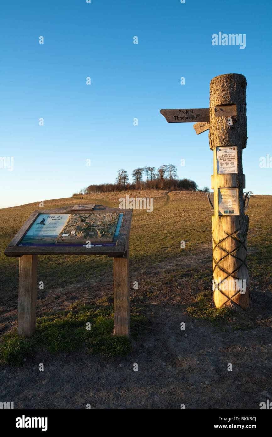 Evening light over Wittenham Clumps in the Sinodun Hills with signpost and information board, near Wallingford, - Stock Image