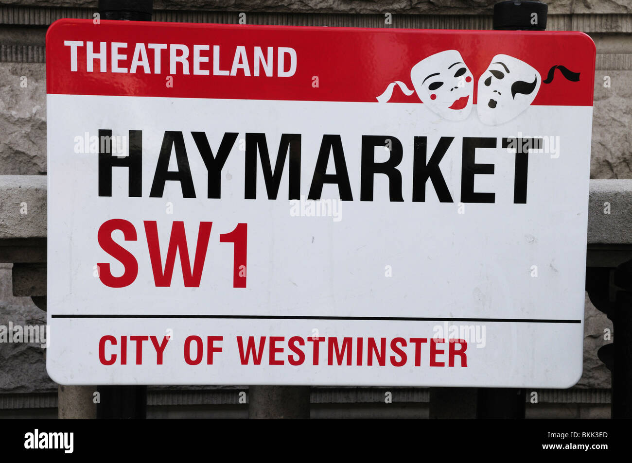 Theatreland Haymarket Street Sign, London, England, UK - Stock Image