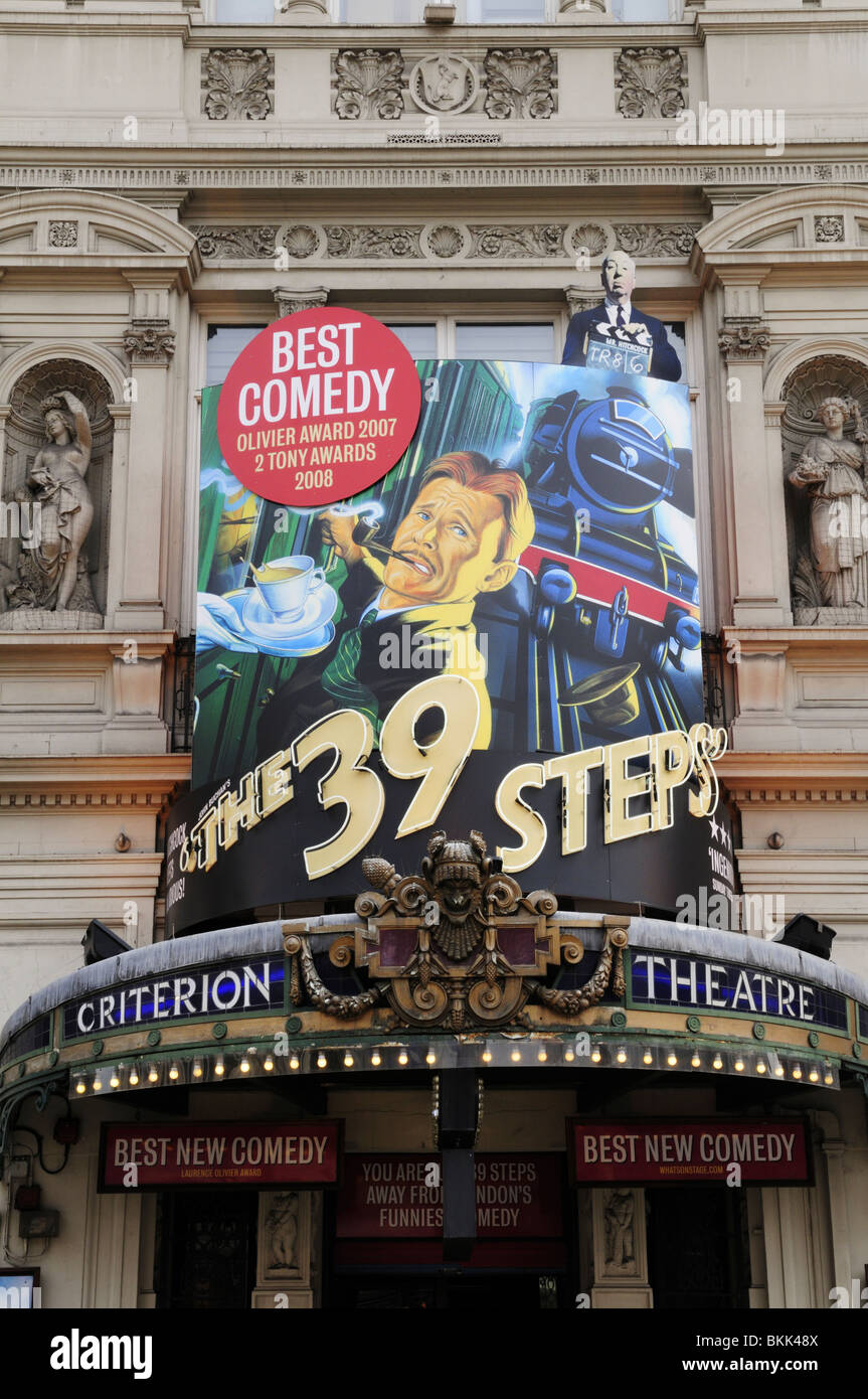 The 39 Steps sign at the Criterion Theatre, Piccadilly Circus, London, England, UK - Stock Image