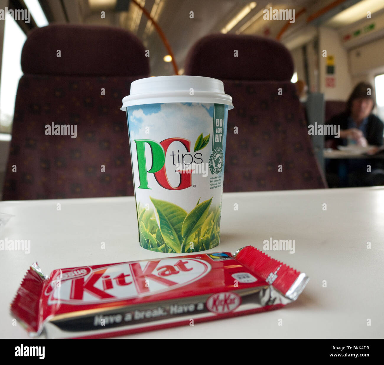 Tea and Kit Kat on a train in Britain - Stock Image