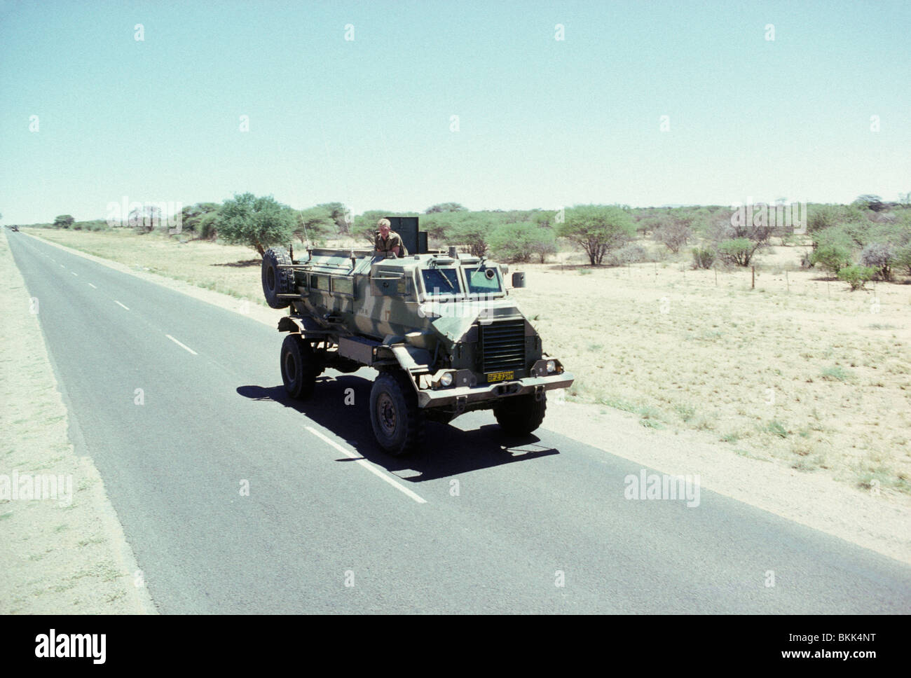 A Caspir vehicle returning from operations in Angola against SWAPO during the build up to the south African Elections. - Stock Image