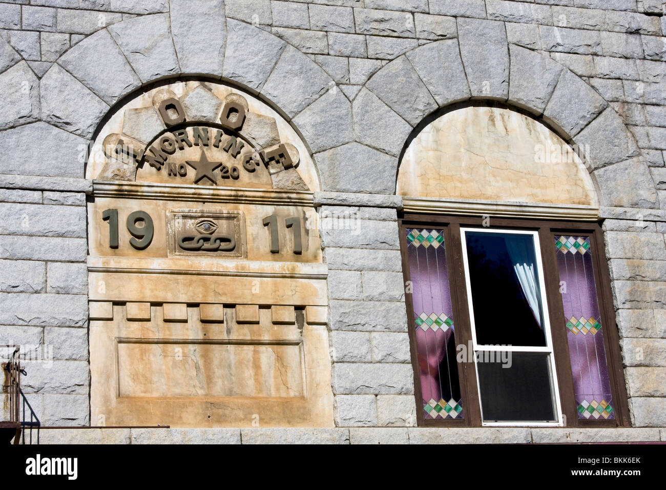 Old stone building in Placerville, California, USA. This was the Independent Order of Odd Fellows lodge in town. - Stock Image