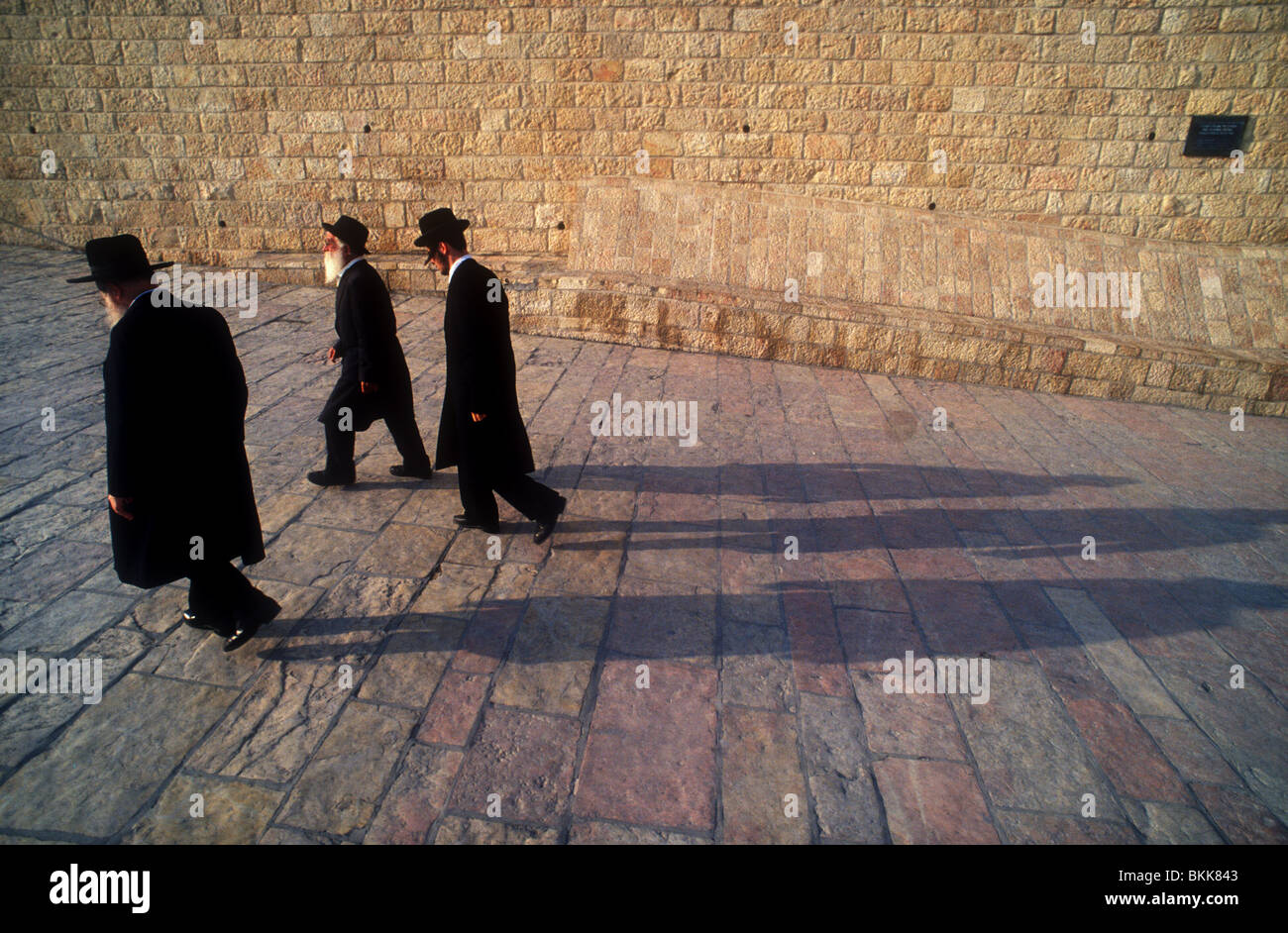 Ascetic Jews (Jews who practice of severe self discipline) at the wall, Jerusalem. - Stock Image