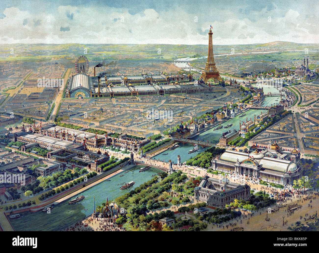 Contemporary lithograph colour print showing an aerial view of the Paris Exposition Universelle (universal exposition) - Stock Image