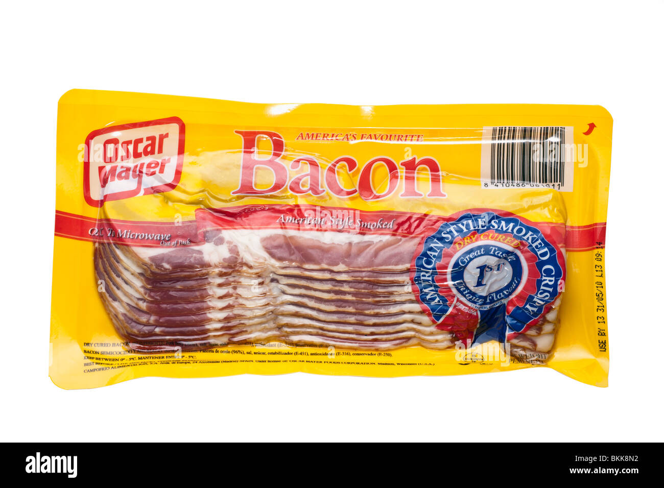 Sealed Pack of Oscar Mayer American style smoked crispy bacon - Stock Image