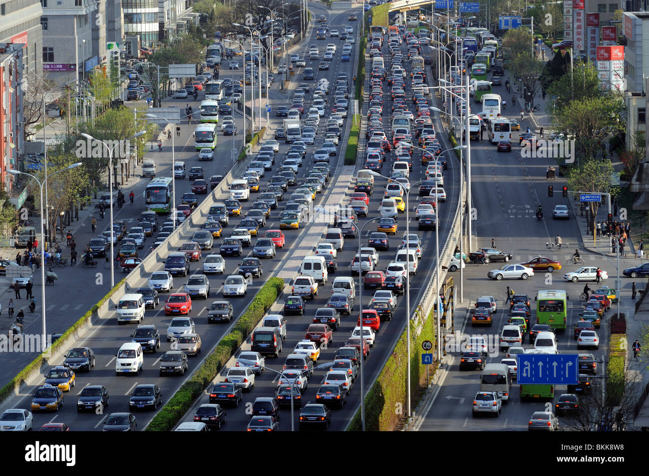 Traffic jam in central Beijing, China. 30-Apr-2010 - Stock Image
