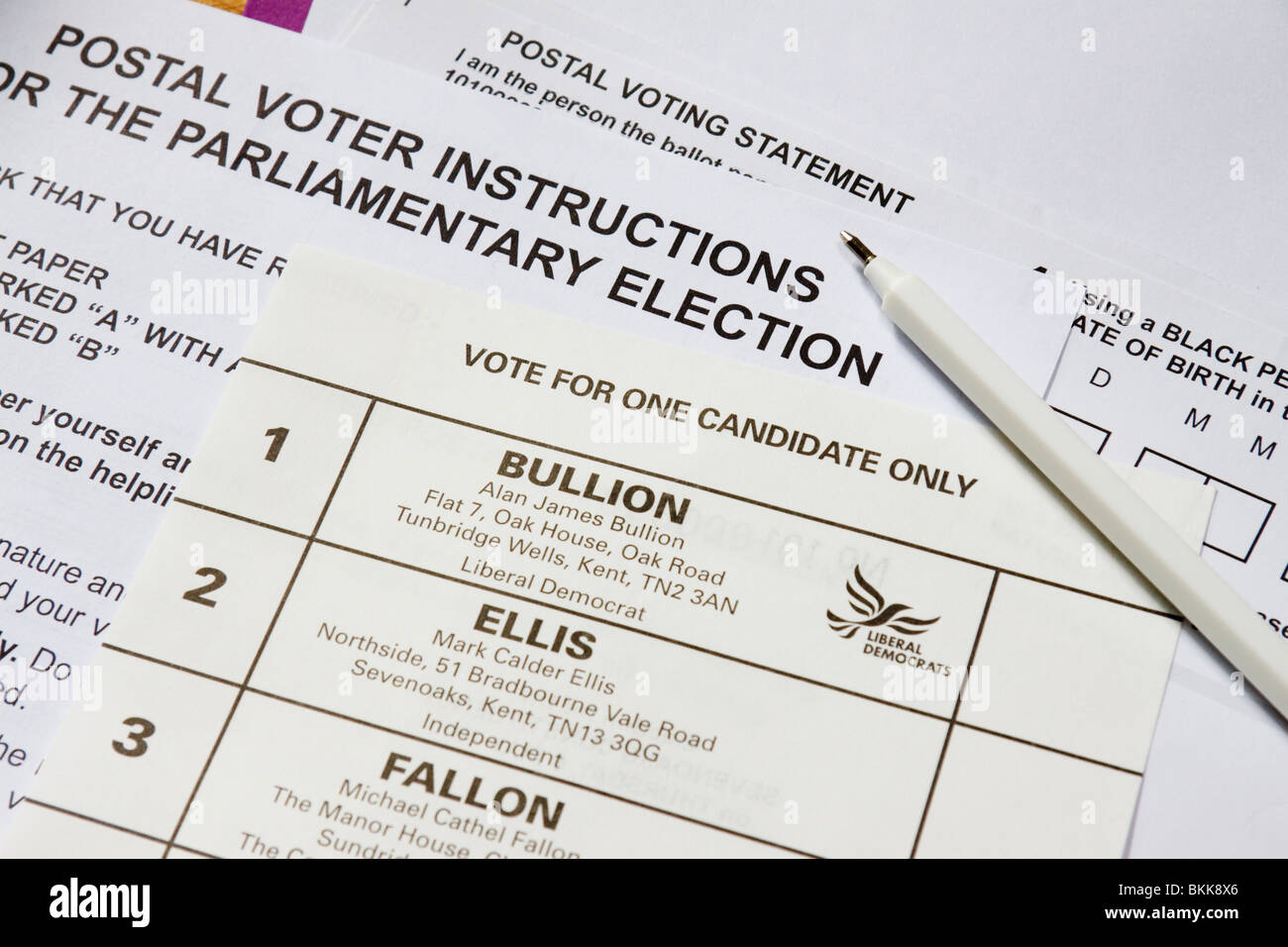 Postal voting ballot papers for the General Election, constituency of Sevenoaks, Kent, England - Stock Image