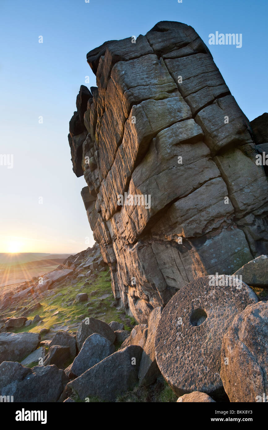 Giant leaning rock formation on Higgar Tor in Derbyshire ,Great Britain - Stock Image