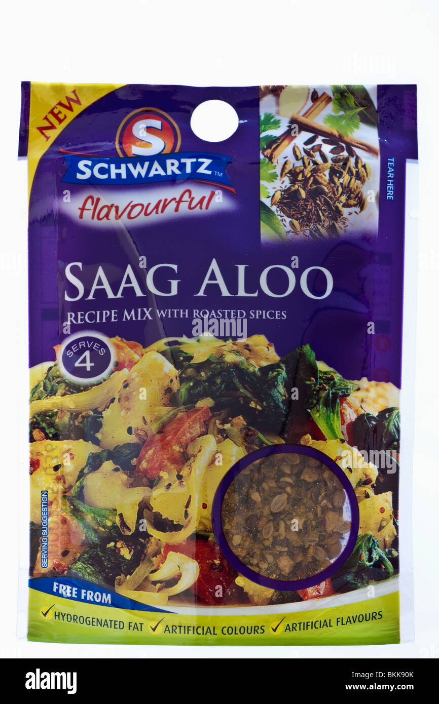 Packet of Schwartz Saag Aloo recipe mix - Stock Image