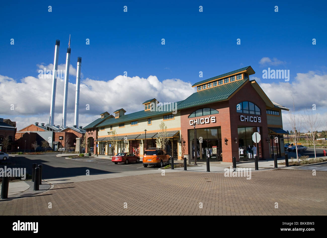 The Old Mill, a large upscale shopping center mall in Bend, Oregon - Stock Image