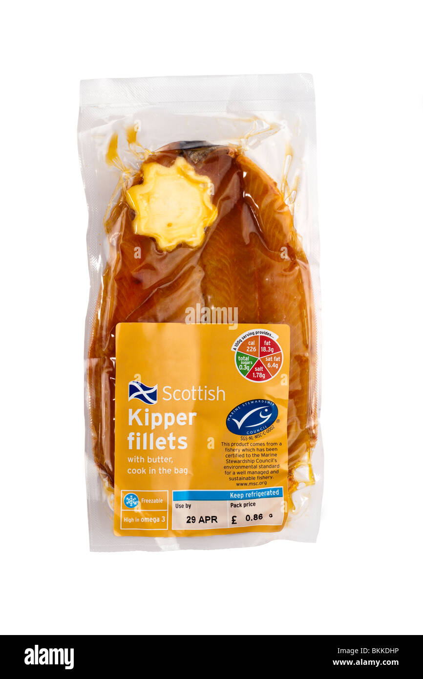 Cook in the bag Scottish kipper fillets with butter - Stock Image