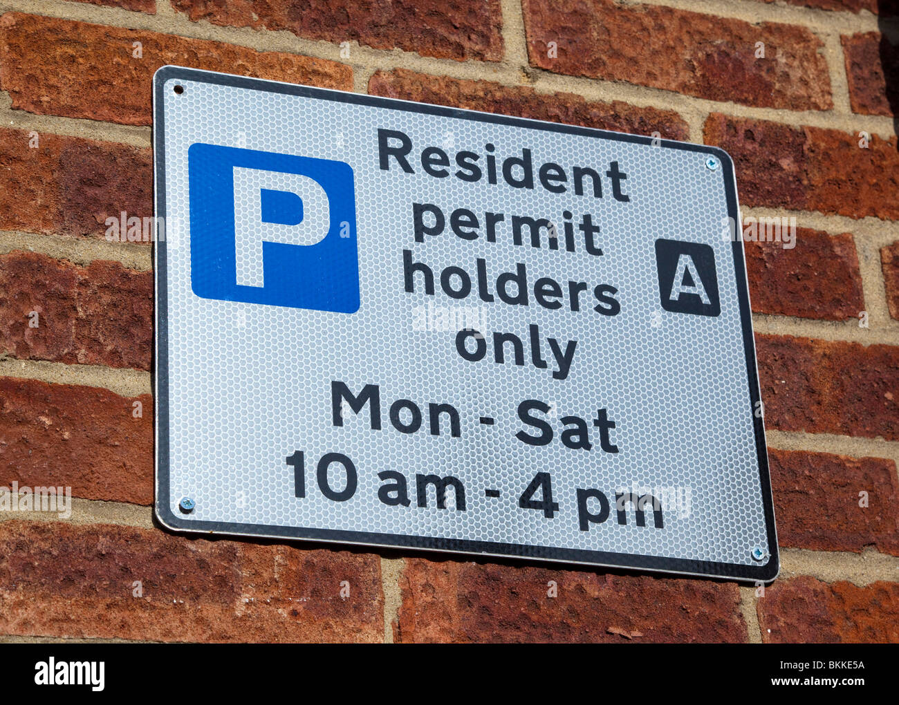 residents parking sign UK - Stock Image