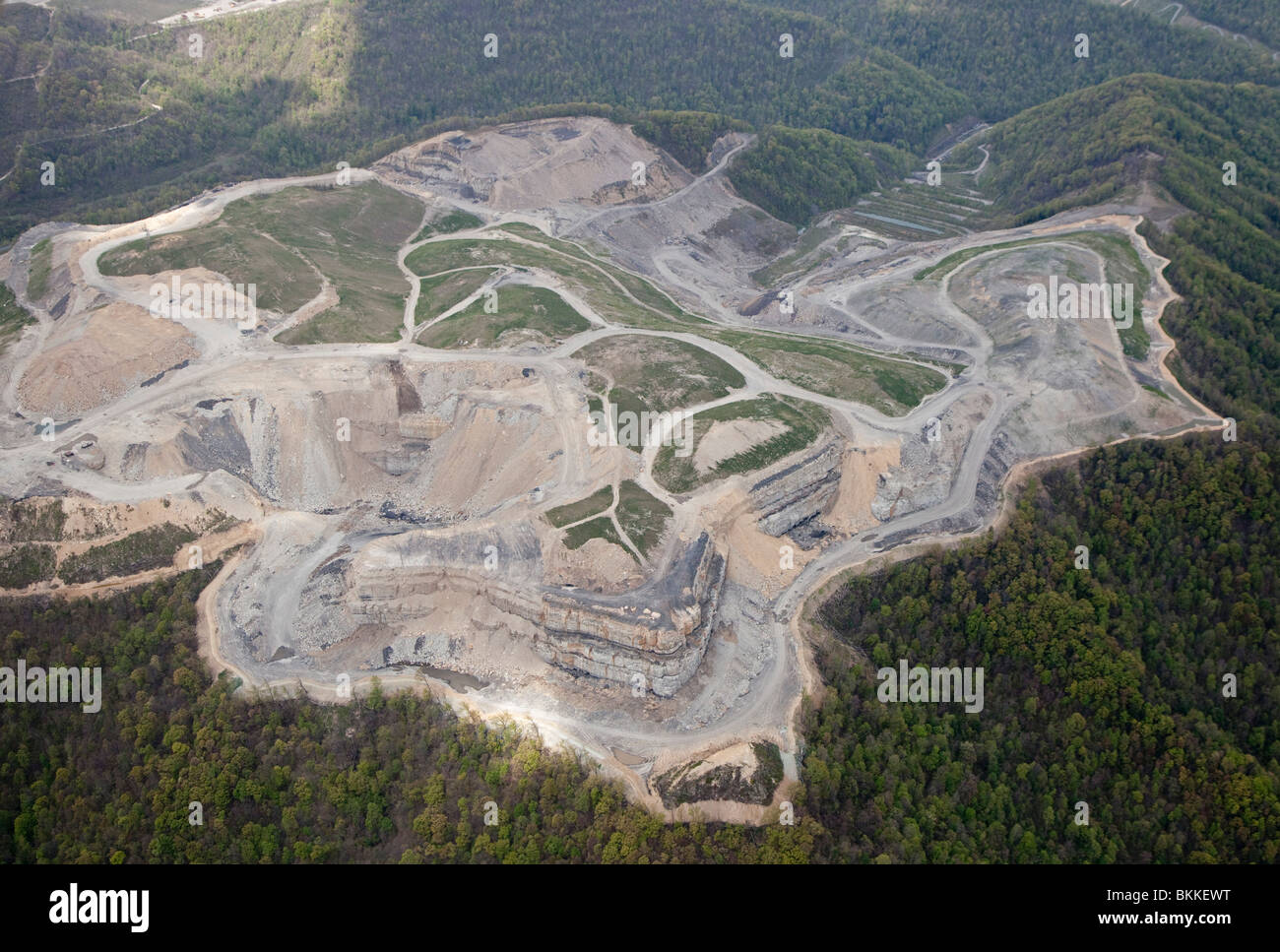 Aerial View of Mountaintop Removal Coal Mining - Stock Image