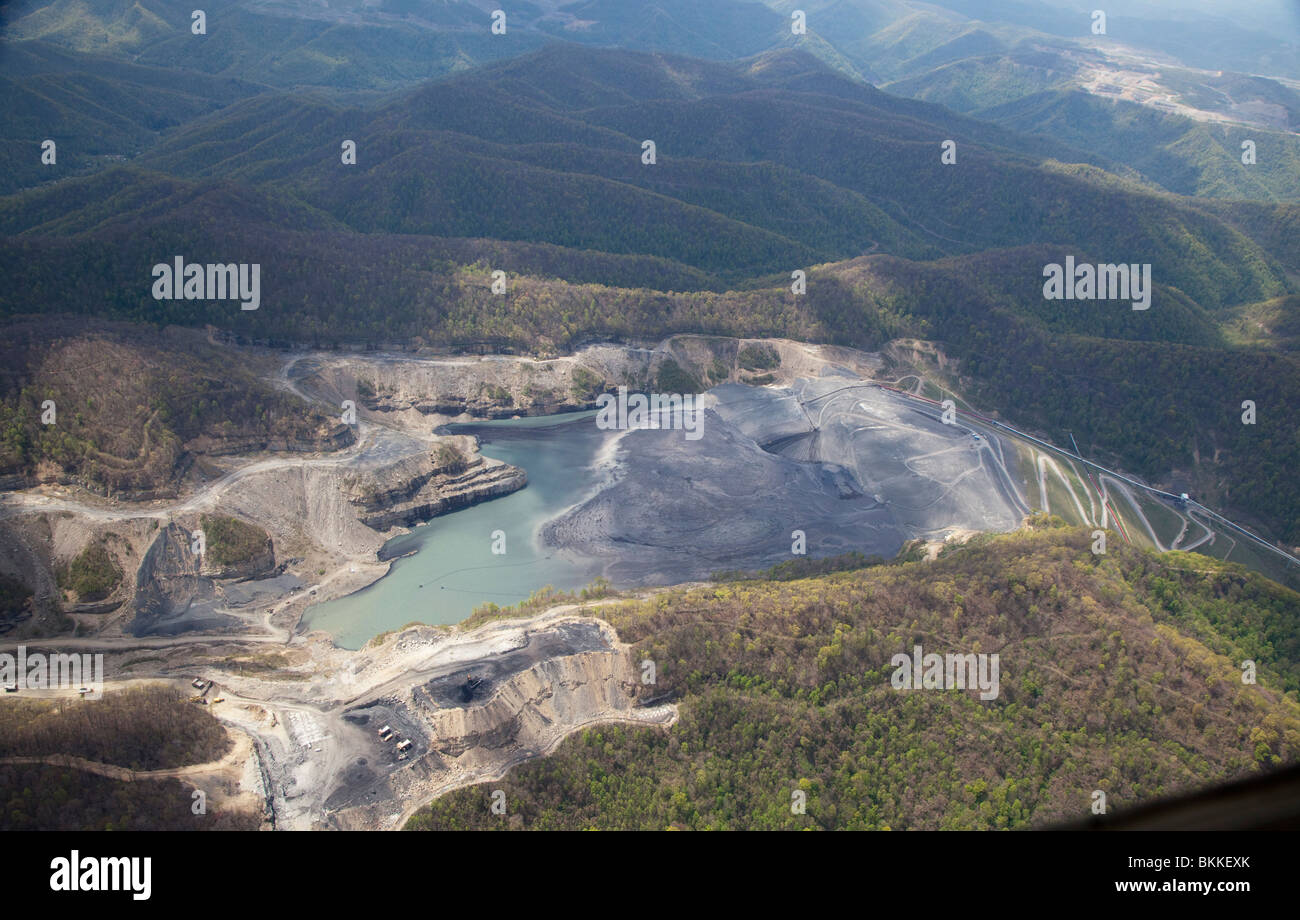 Aerial View of Massey Energy's Brushy Fork Coal Sludge Impoundment - Stock Image