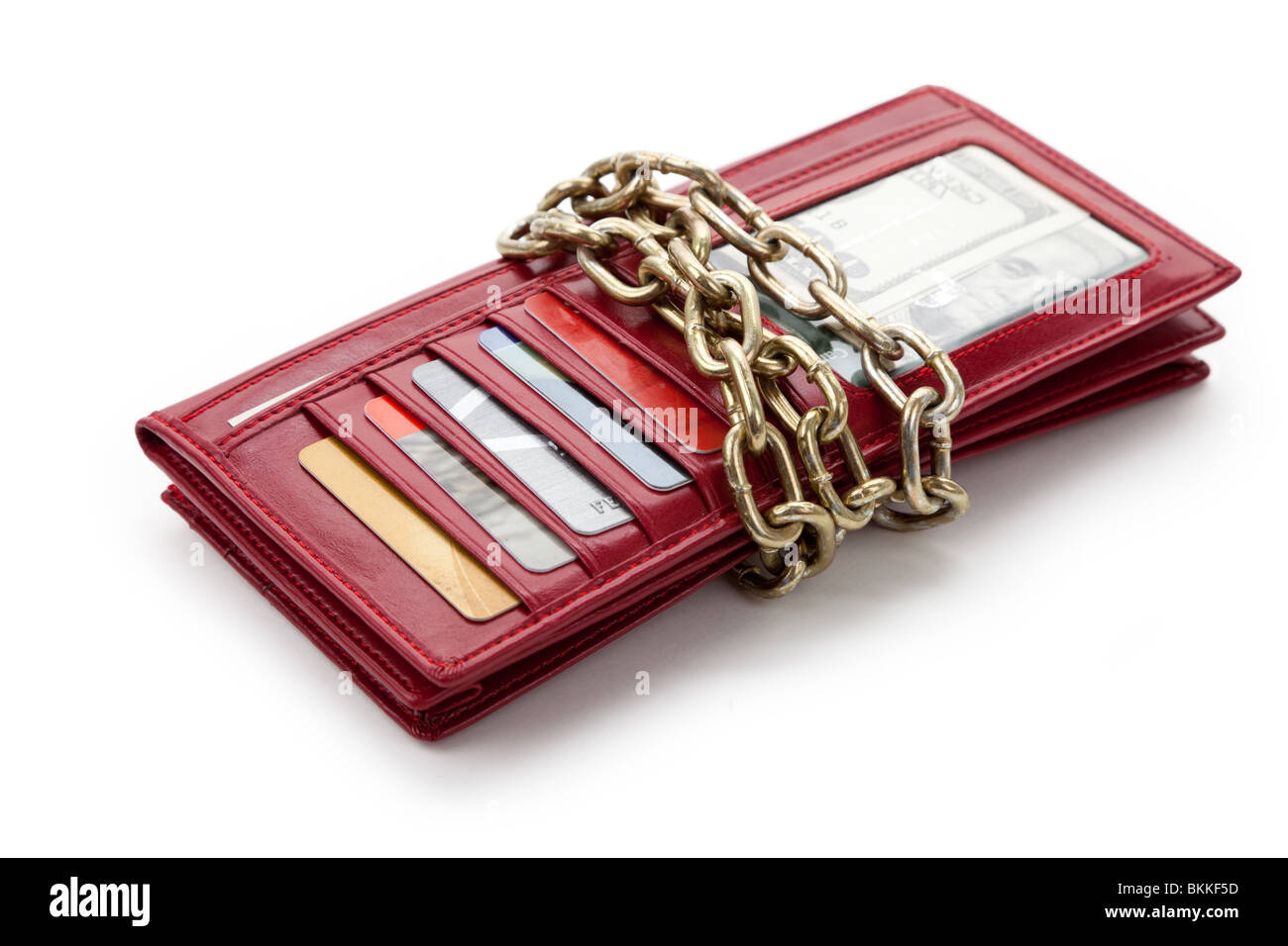 Red Wallet with money and Credit Card Stock Photo