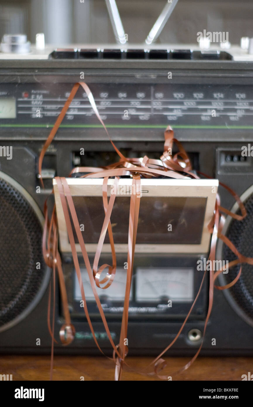 cassette player chewed up cassette - Stock Image