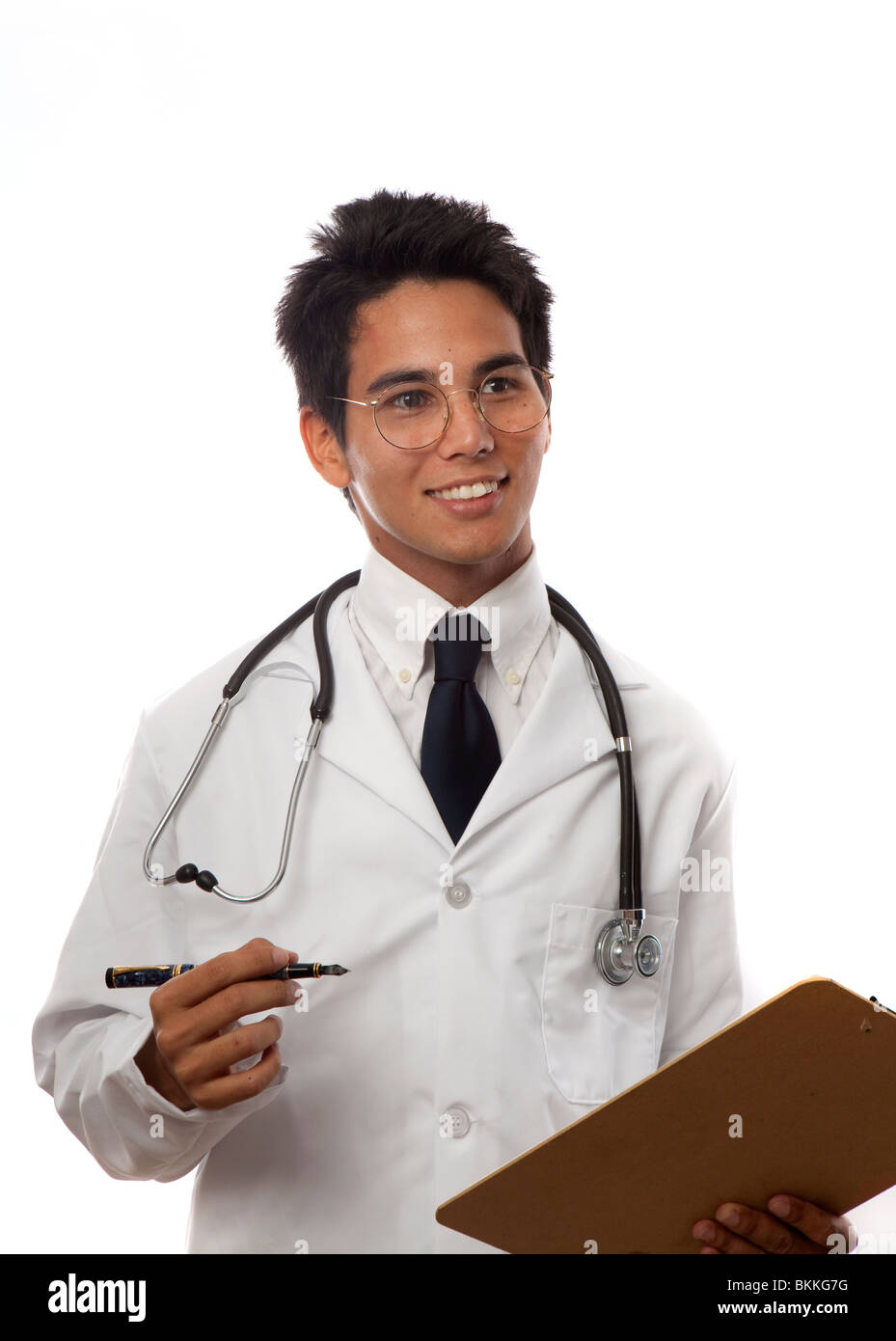 young asian doctor/medical student/intern in lab coat - Stock Image