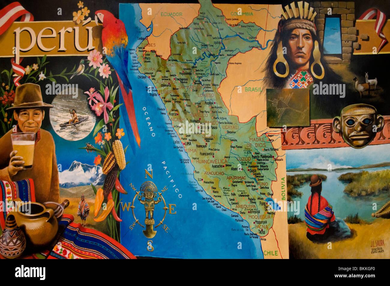 Peru Peruvian South America Indian Painting Map - Stock Image