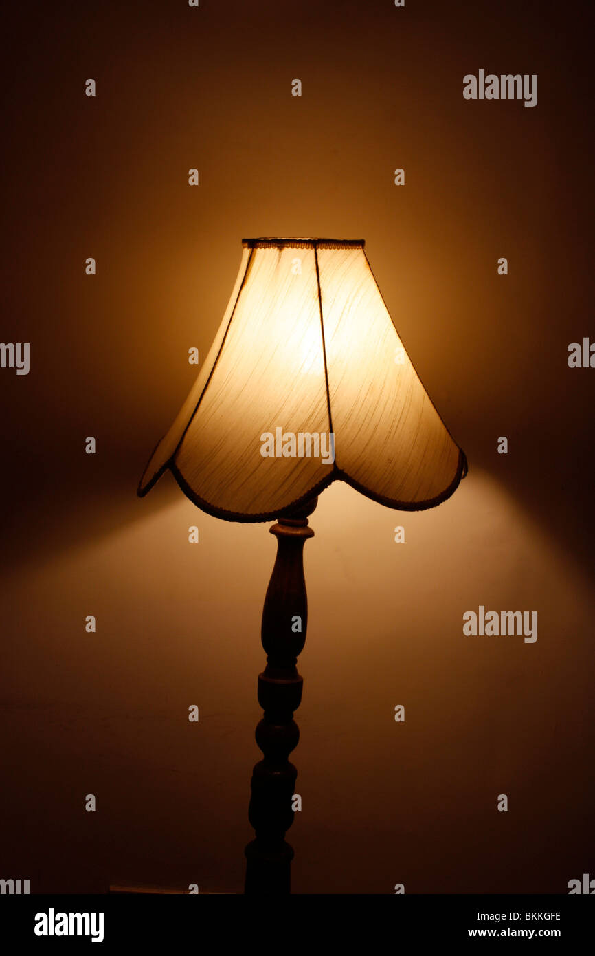 Table Lamp Switched On While Light Traversing Stock Photo 29318898
