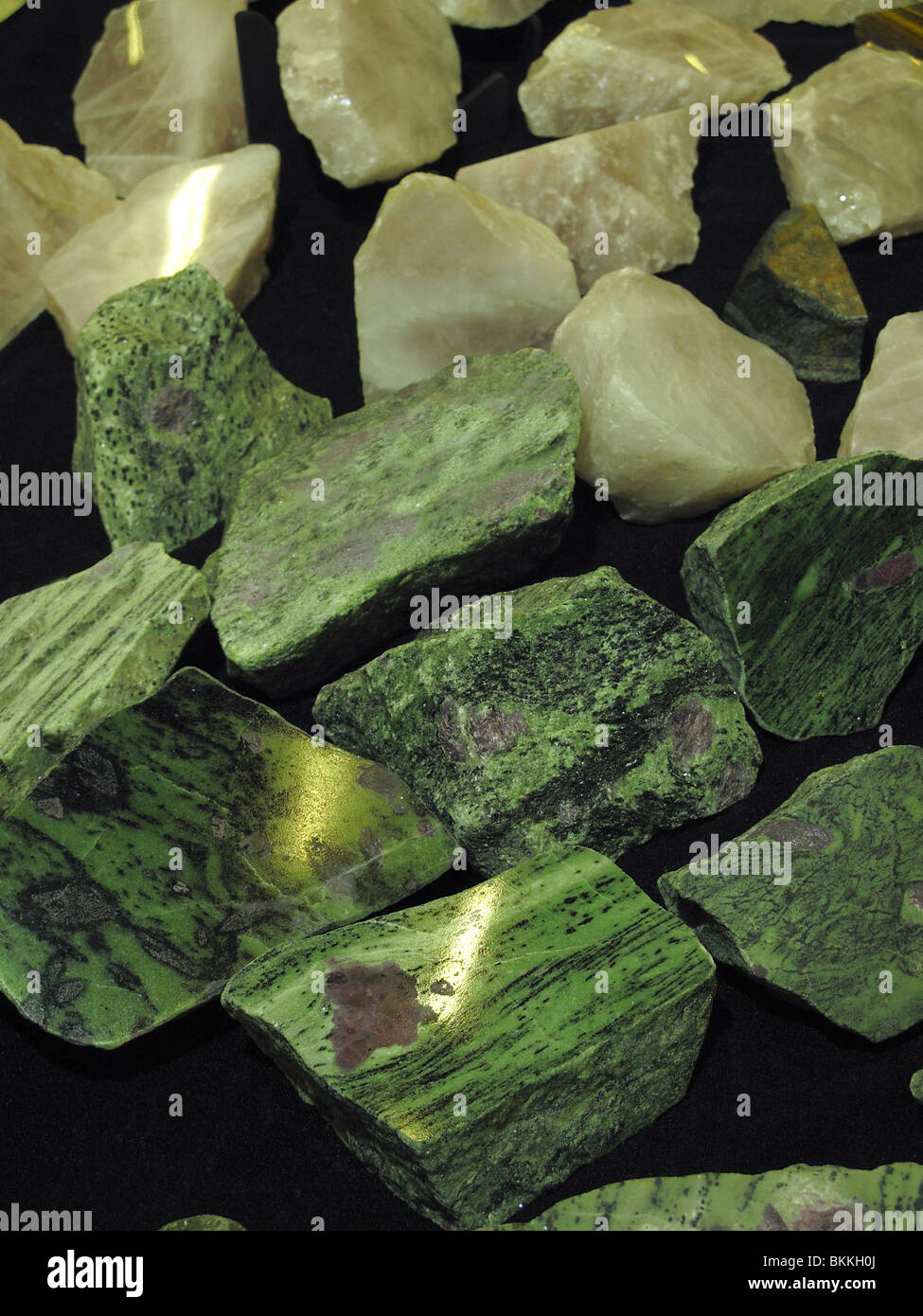 Collection of raw semi-precious stones. Anyolite or Mineral zoisite or Ruby in zoisite or Tanganyika artstone. - Stock Image
