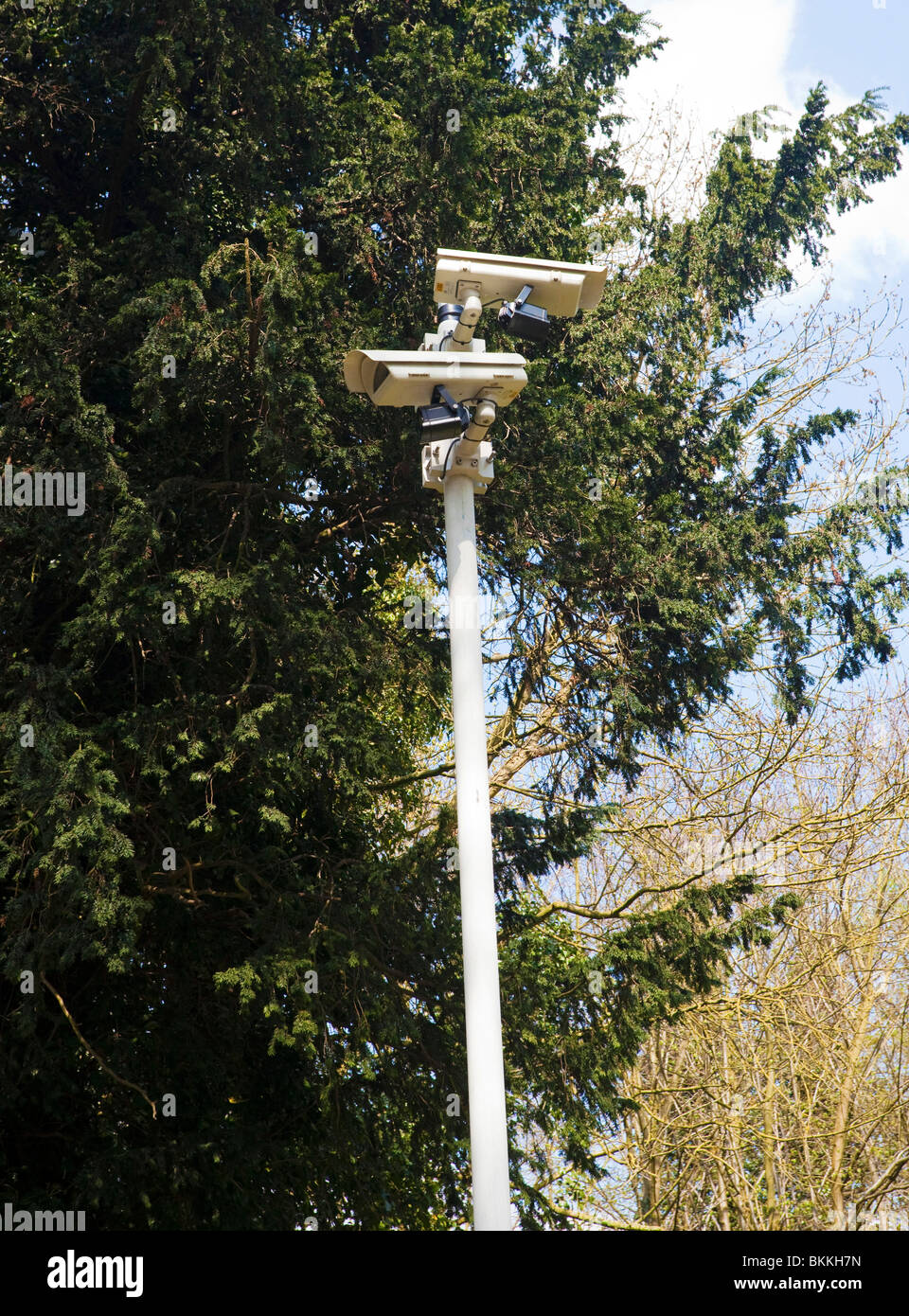 security CCTV cameras on a pole Stock Photo