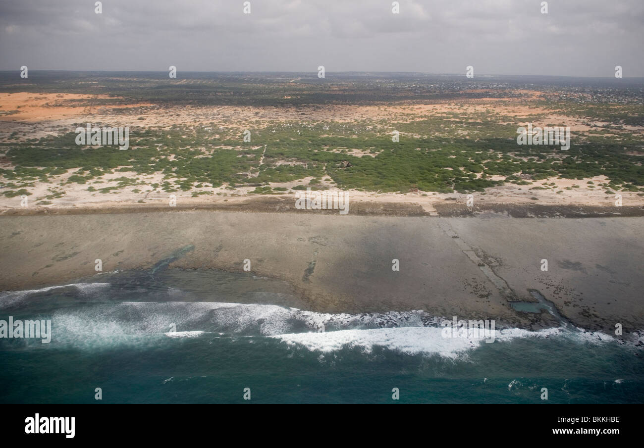 An aerial view of the outskirts of the Somali capital Mogadishu prior to landing on April 1, 2010. - Stock Image