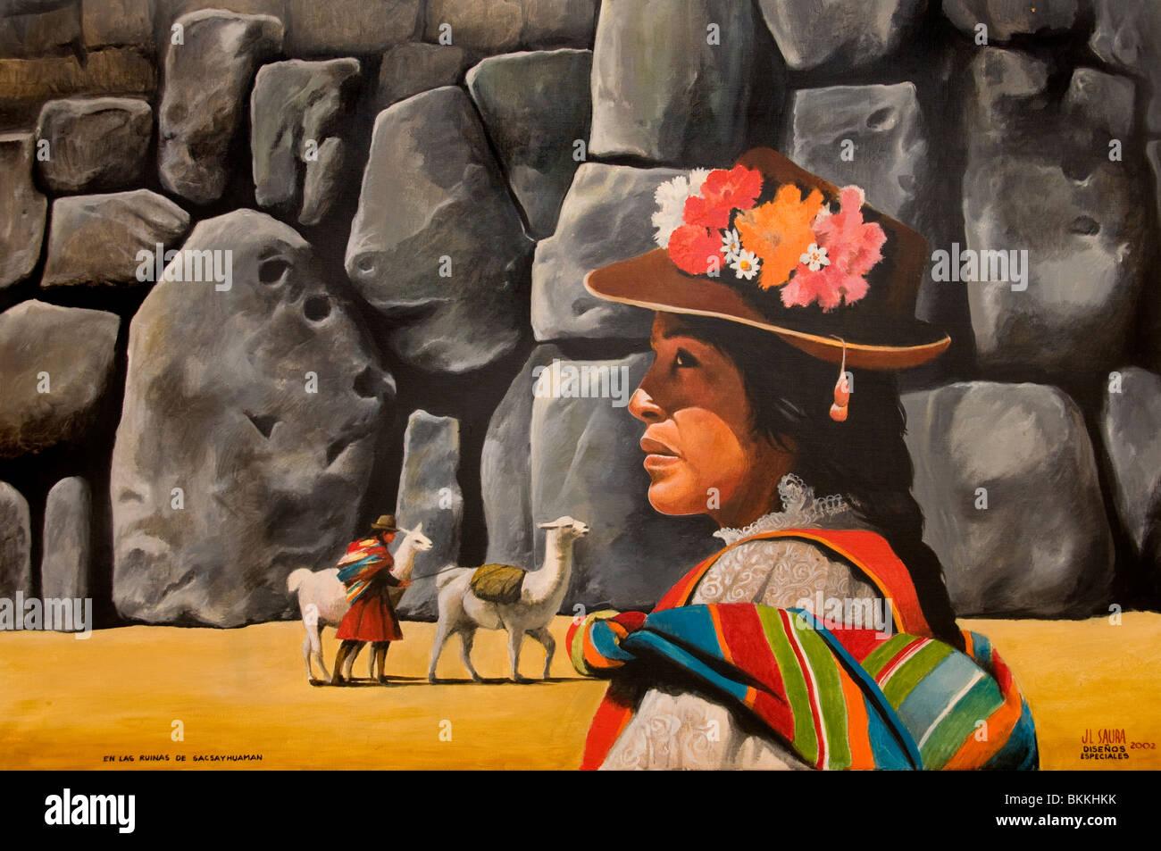 Peru Peruvian South America Indian Painting Lama - Stock Image