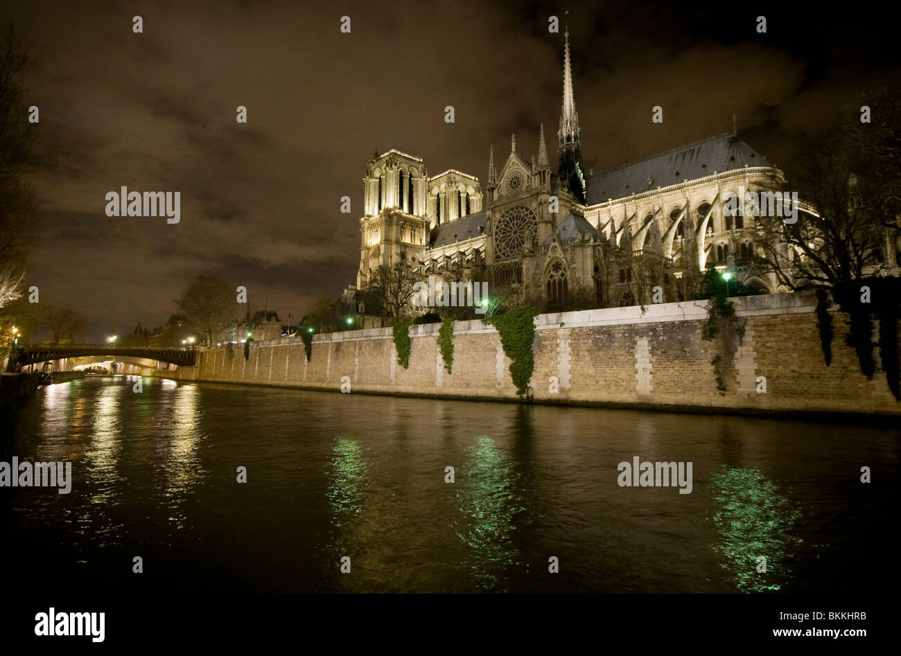 Notre Dame Cathedral next to the river Seine at night in Paris France - Stock Image